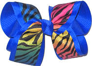 Large Rainbow Zebra Stripes over Electric Blue Double Layer Overlay Bow
