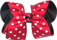 MEGA Red with White Dots over Black (Minnie Mouse Pattern) Double Layer Overlay Bow
