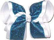 MEGA Sapphire Mini-scales over White Double Layer Overlay Bow