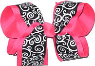 Large Black and White Damask over Tutti Fruiti Double Layer Overlay Bow