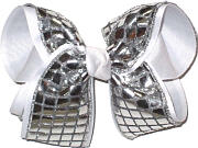 Large Metallic Silver Squares over White Double Layer Overlay Bow