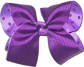 Large Sugar Plum over Light Orchid with Sugar Plum Dots Double Layer Overlay Bow
