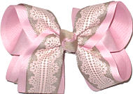 Large Khaki Printed Lace on Light Pink over Light Pink Double Layer Overlay Bow