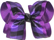Large Sugar Plum and Black Plaid over Sugar Plum Double Layer Overlay Bow