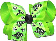 Large Neon Green with Black and White Fleur de Lis over Apple Green Double Layer Overlay Bow