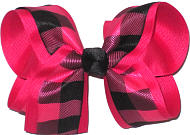 Large Shocking Pink and Black Plaid over Shocking Pink Double Layer Overlay Bow