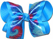 Large Shocking Pink and Blue Tie Dye over Mystic Blue Double Layer Overlay Bow