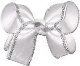 Medium White Chiffon with Silver Tinsel Edge over White Double Layer Overlay Bow