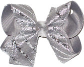Medium Silver Glitter Chiffon over Millenium Gray Double Layer Overlay Bow