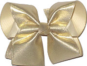 Large Metallic Gold Satin Print over Light Ivory Double Layer Overlay Bow