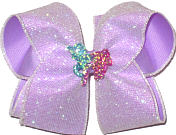 Large White Chiffon Sparkle Glitter over Light Orchid with Unicorn Miniature Double Layer Overlay Bow