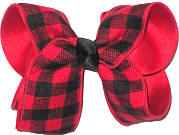 Large Red and Black Check over Red Double Layer Overlay Bow