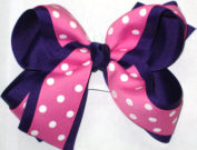 Hot Pink with White Dots over Purple Large Double Layer Bow