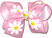 MEGA Pink with Daisies Canvas over White Double Layer Overlay Bow