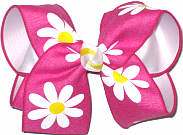 Large Shocking Pink with Daisies Canvas over White Double Layer Overlay Bow