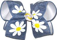 MEGA Denim with Daisies Canvas over White Double Layer Overlay Bow