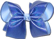 Large Century Blue with Metallic Highlights over Millenium Blue Double Layer Overlay Bow
