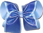 MEGA Century Blue with Metallic Highlights over Millenium Blue Double Layer Overlay Bow