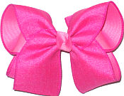 Large Shocking Pink Canvas over Hot Pink Double Layer Overlay Bow