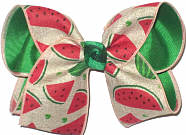 MEGA Watermelon Slices on Khaki Canvas over Green Double Layer Overlay Bow