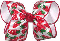 Large Strawberries over White Double Layer Overlay Bow