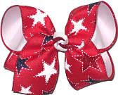 Large White Stars and Red and Blue Glitter Stars on Red over White Double Layer Overlay Bow