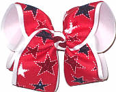 MEGA White Stars and Red and Blue Glitter Stars on Red over White Double Layer Overlay Bow