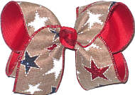 Large White Stars and Red and Blue Glitter Stars on Khaki Canvas over Red