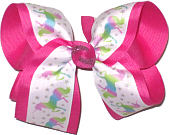 Large Unicorn Print over Shocking Pink Double Layer Overlay Bow