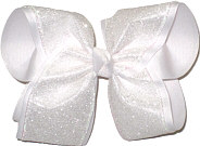 MEGA Heavy White Glitter over White Double Layer Overlay Bow