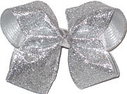 Large Heavy Silver Glitter over Sliver Mesh Double Layer Overlay Bow