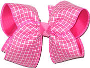 Large Hot Pink and White Check over Shocking Pink Double Layer Overlay Bow