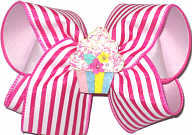 Large Shocking Pink Stripes over White with Cupcake Miniature Double Layer Overlay Bow