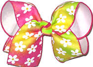 Large Shocking Pink Yellow and Green Canvas with Daisies over White Double Layer Overlay Bow