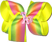 Large Pink Orange and Green Pastel Stripe over Neon Yellow with Unicorn Miniature Double Layer Overlay Bow