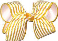 Large Maize and White Stripe over White Double Layer Overlay Bow