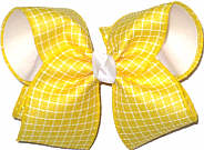 MEGA Maize and White Check over White Double Layer Overlay Bow