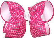 Large Shocking Pink and White Check over White Double Layer Overlay Bow