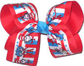 Large Thing 1 and Thing 2 with Cat in the Hat over Poppy Double Layer Overlay Bow