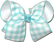 Large Aqua and White Check over White Double Layer Overlay Bow