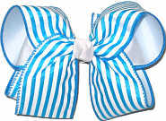 MEGA Island Blue Stripe over White Double Layer Overlay Bow