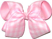Large Pink Plaid over Pink Double Layer Overlay Bow