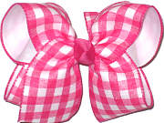 Large Shocking Pink and White Plaid over White Double Layer Overlay Bow