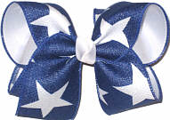 MEGA Light Navy Canvas with White Stars over White Double Layer Overlay Bow