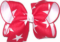 MEGA Red Canvas with White Stars over White Double Layer Overlay Bow