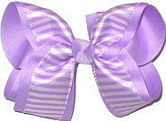 Large Light Orchid and White Stripes over Light Orchid Double Layer Overlay Bow