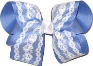 Large White Lace over Bluebird Double Layer Overlay Bow