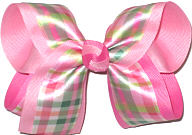 Large Satin Pastel Plaid over Hot Pink Double Layer Overlay Bow