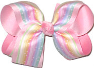 Large Mulitcolor Pastel Stripes with Stars over Light Pink Double Layer Overlay Bow