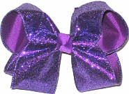 Large Purple Glitter over Sugar Plum Double Layer Overlay Bow